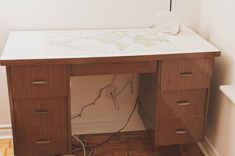Found treasure my world map desk tiana feng world map desk probably should have moved all those cords for the photo gumiabroncs Images